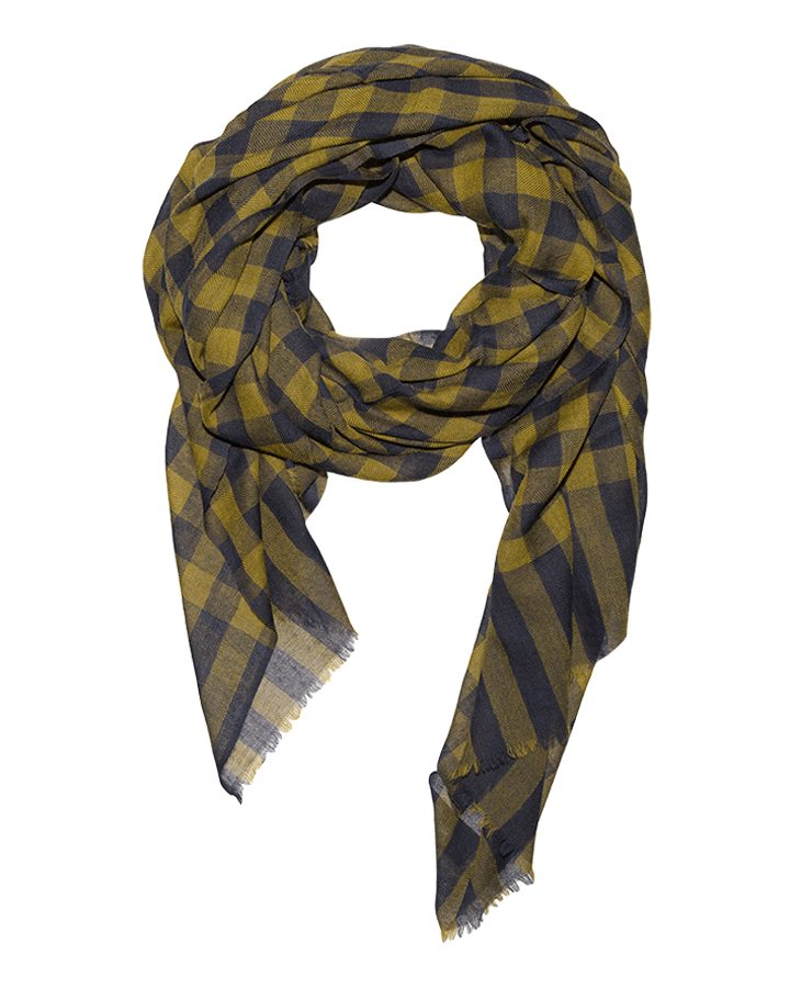 LOVAT&GREEN Vichy Olive wool scarf