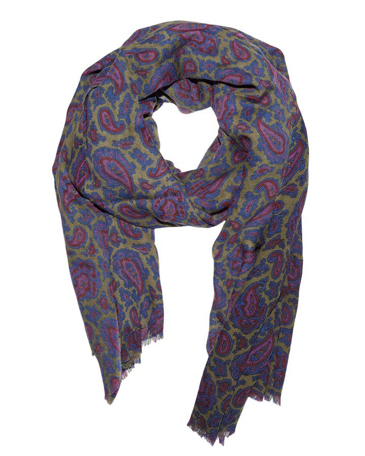 LOVAT&GREEN Paisley Purple wool scarf
