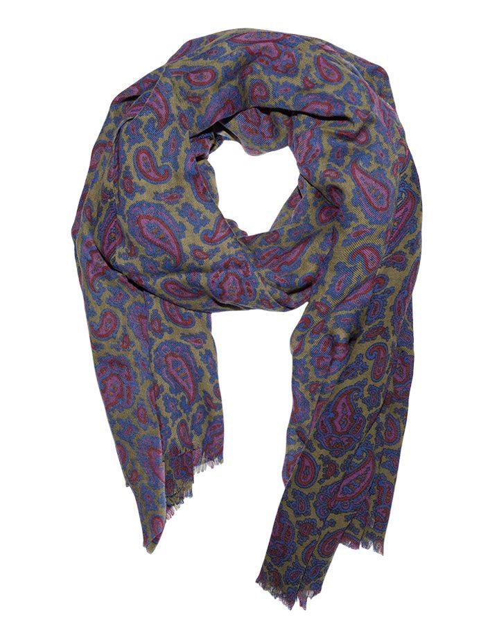 LOVAT&GREEN Paisley Purple wool scarf