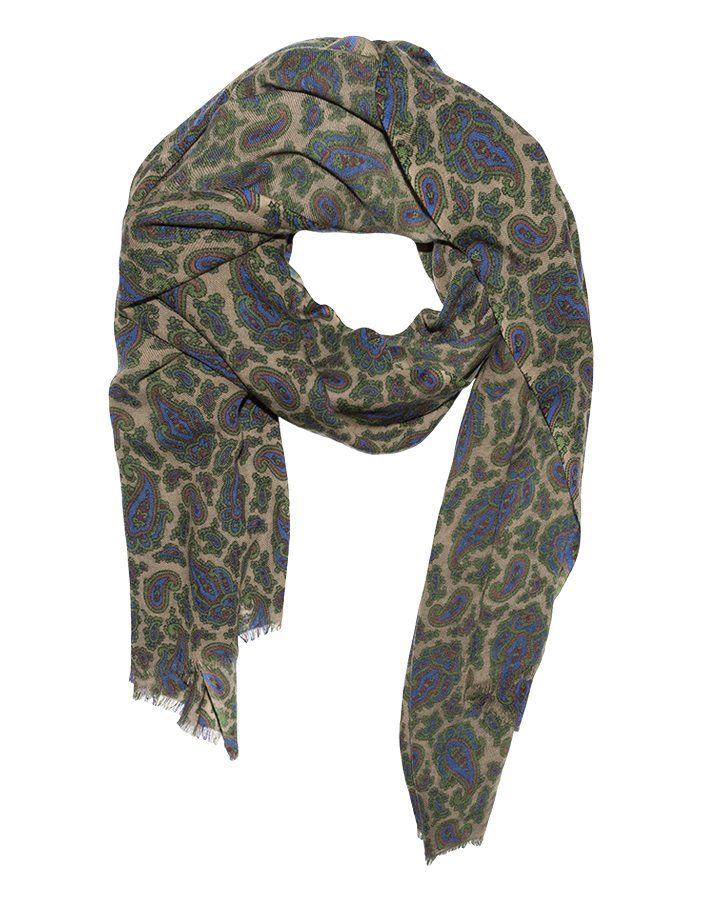 LOVAT&GREEN Paisley Green wool scarf