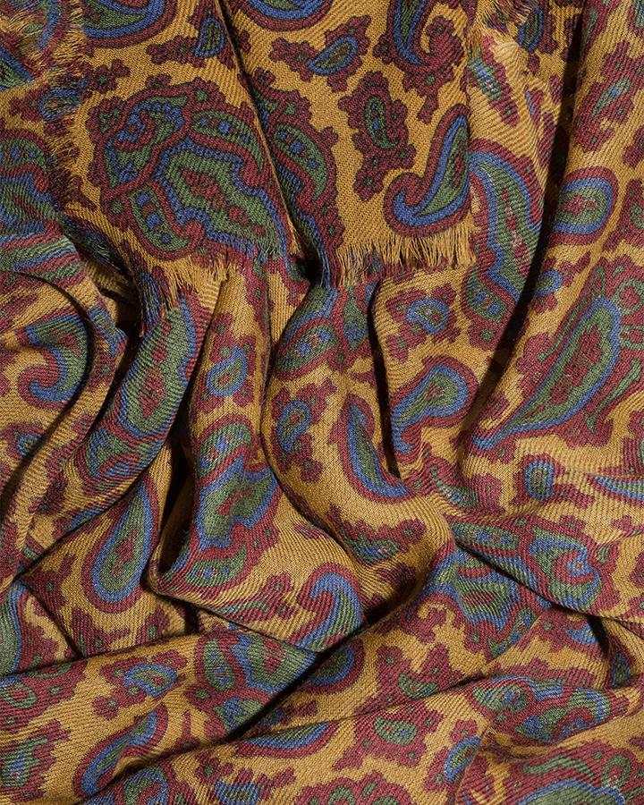 LOVAT&GREEN Paisley Yellow wool scarf