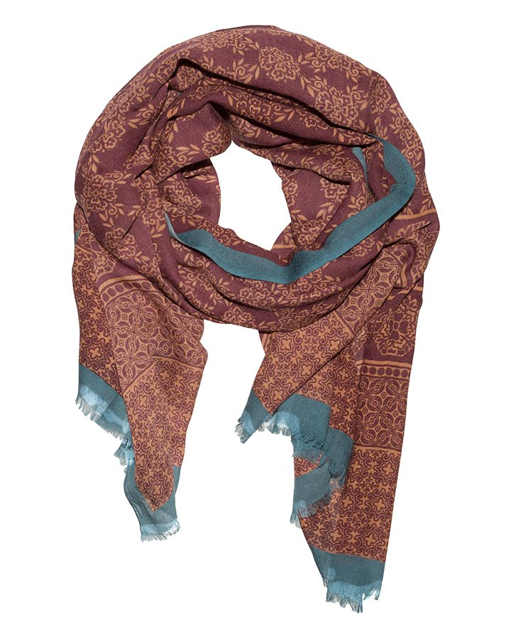 LOVAT&GREEN Flowers Burgundy wool scarf