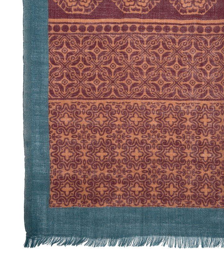 LOVAT&GREEN Flowers Burgundy wool scarf