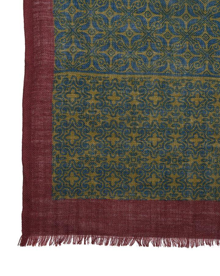 LOVAT&GREEN Flowers Royal Blue wool scarf