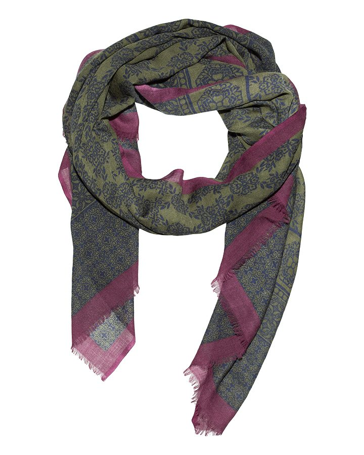 LOVAT&GREEN Flowers Green wool scarf
