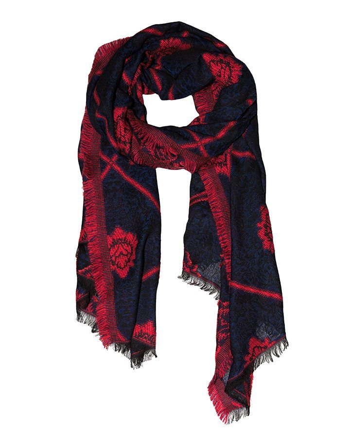 LOVAT&GREEN Damask Red wool scarf