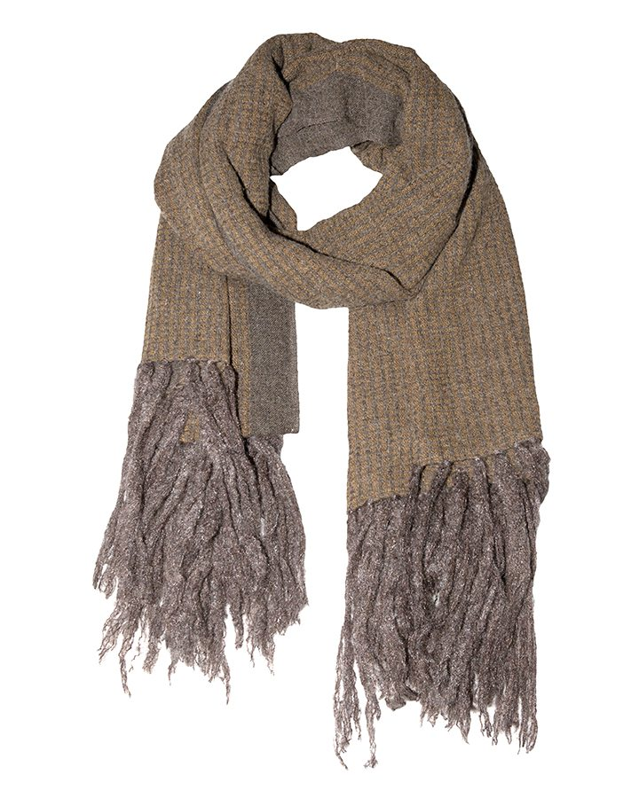 LOVAT&GREEN Fringes Brown wool scarf