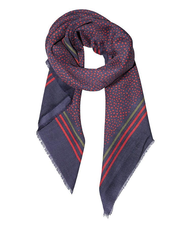 LOVAT&GREEN Little Dots Red wool scarf
