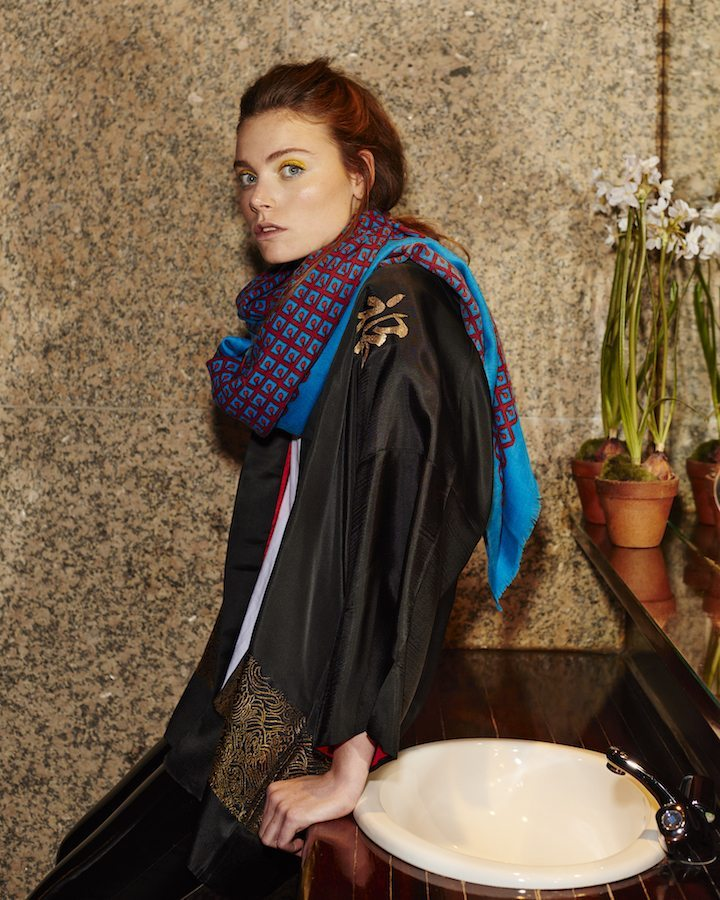 LOVAT&GREEN Cherry Turquoise wool scarf