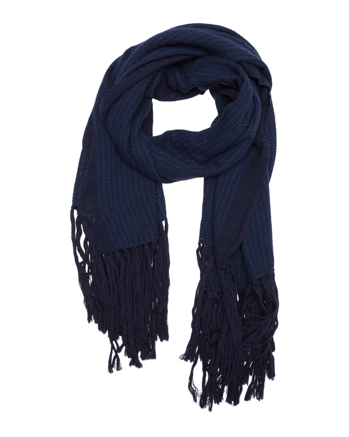 LOVAT&GREEN Fringes Navy wool scarf