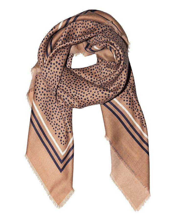 LOVAT&GREEN Little Dots Beige wool scarf