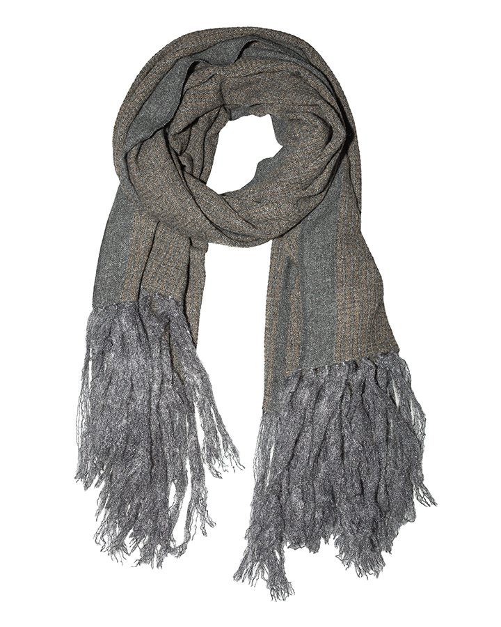 LOVAT&GREEN Fringes Grey wool scarf