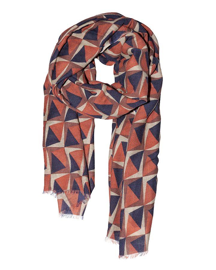 LOVAT&GREEN Rhombus Brown wool scarf