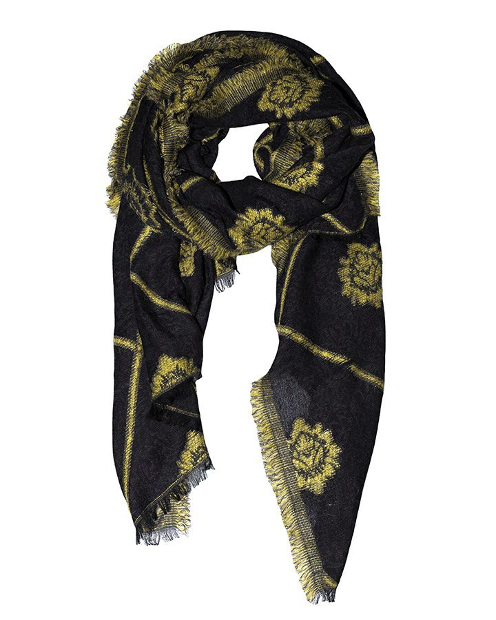 LOVAT&GREEN Damask Yellow wool scarf