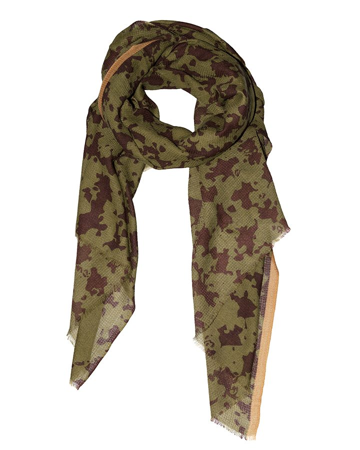LOVAT&GREEN Stains Olive wool scarf