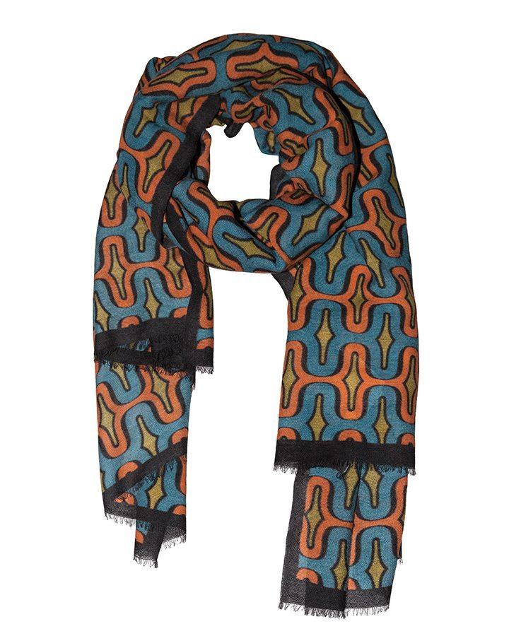 LOVAT&GREEN Geometric Turquoise wool scarf