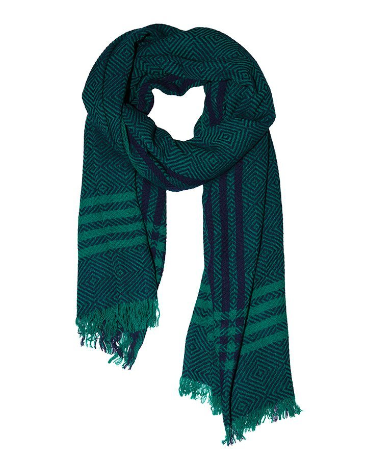 LOVAT&GREEN Mosaique Turquoise wool scarf