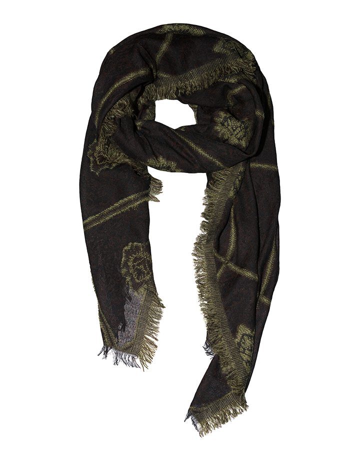 LOVAT&GREEN Damask Olive wool scarf