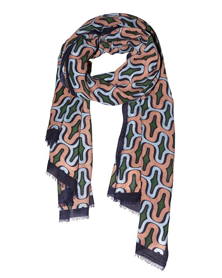 LOVAT&GREEN Geometric Pink wool scarf