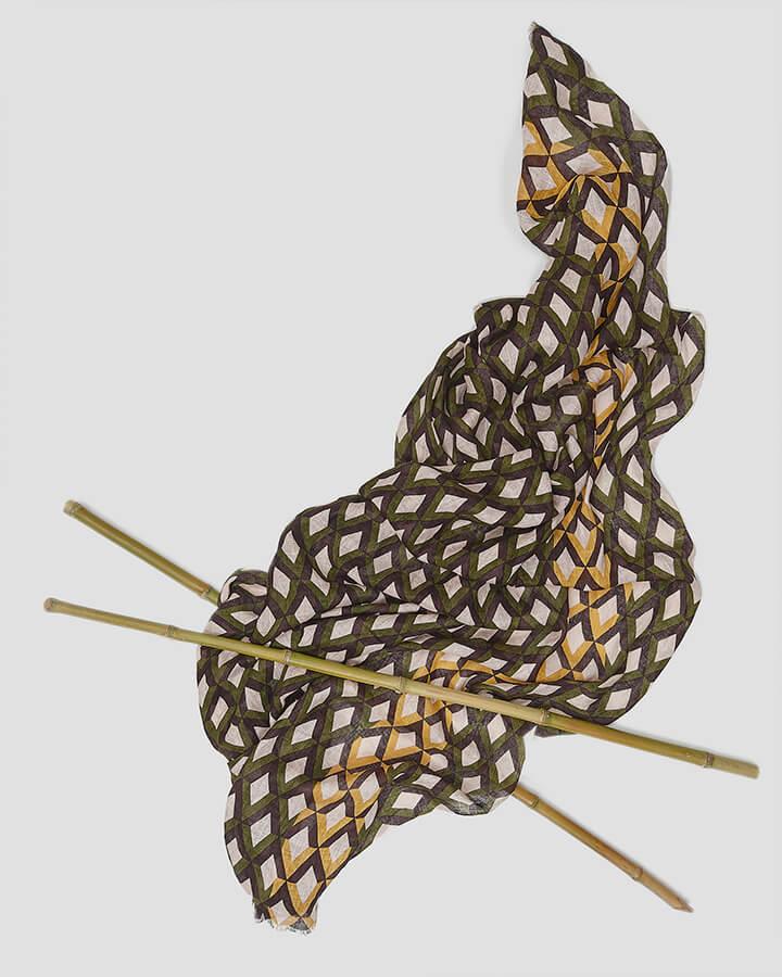 CRISSCROSS KHAKI SCARF by LOVAT&GREEN