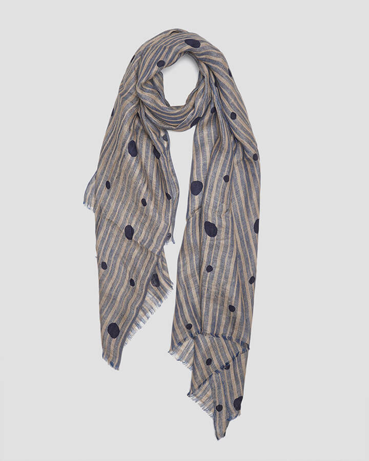 FLAKES NAVY SCARF by LOVAT&GREEN