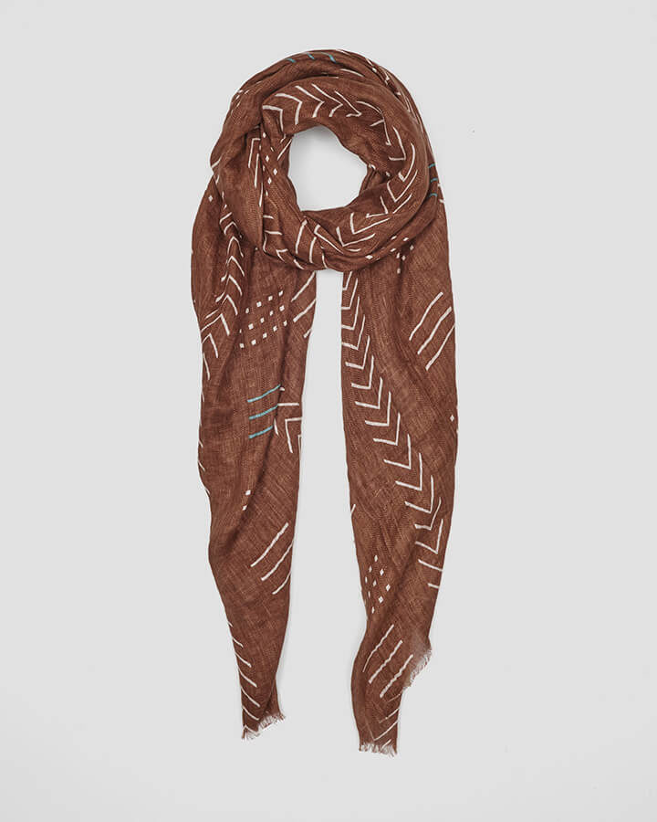 SYMBOLS BROWN SCARF by LOVAT&GREEN